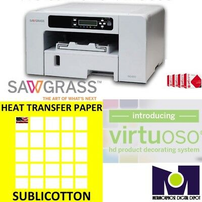 Sawgrass Virtuoso SG400 Printer + Ink Set CMYK + 200 sheets SUBLICOTTON Combo A+