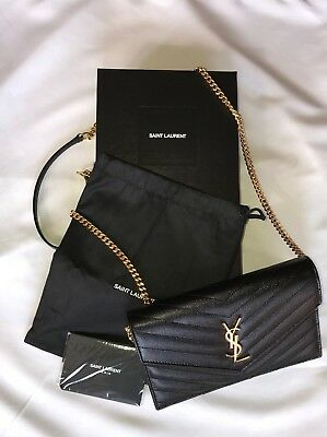 cff2c25456 Saint Laurent Envelope Chain Wallet In Grain De Poudre Embossed Leather YSL  Bag