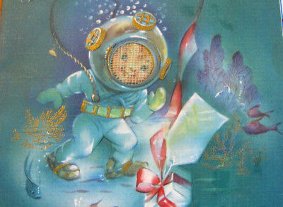 RARE DEEP SEA DIVER w/ PLASTIC HELMET VINTAGE BIRTHDAY GREETING CARD OCEAN