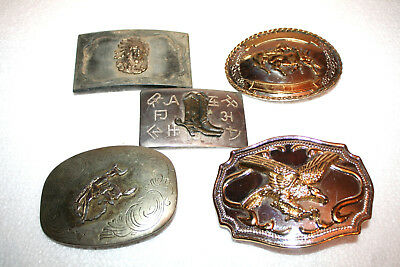 LOT OF 5 five VINTAGE EAGLE WESTERN BELT BUCKLES and BOLO TIE NICE!!!