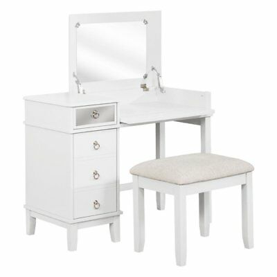 Linon Home Decor Vanity Set With Erfly Bench Black New Picclick Exclusive Peggy Left Side Storage
