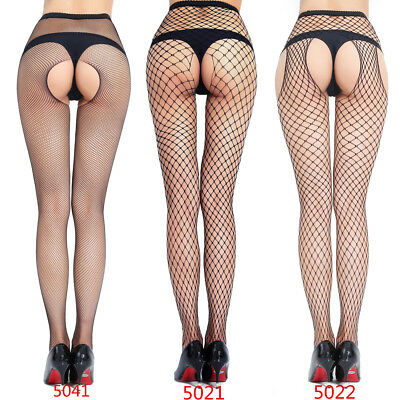 Womens Clubwear Crotchless Fishnet Fancy Pantyhose Hosiery Thigh-High Stocking