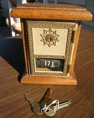 Vintage 1969 National US Post Office Box Door Oak Bank  With Keys