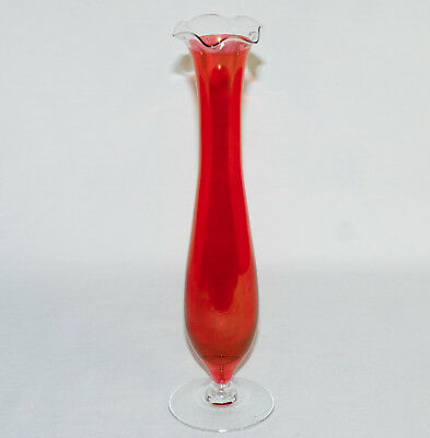 Antique Red / Orange and Clear Glass Bud Vase Footed