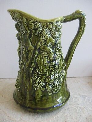 Vintage SARREGUEMINES France MAJOLICA olive green JUG -PITCHER Boys in tree
