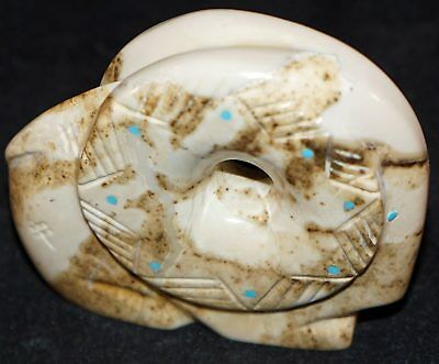Zuni Fetish Gilbert Lonjose Carved Ram with Turquoise inlays Signed