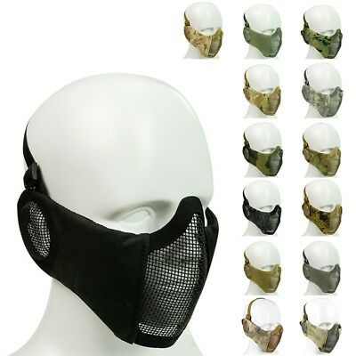 Protective Mask Tactical Airsoft Steel Mesh Half Face Mask With Ear Protection