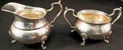 Fisher Sterling Silver Creamer And Sugar Bowl Set Claw Footed