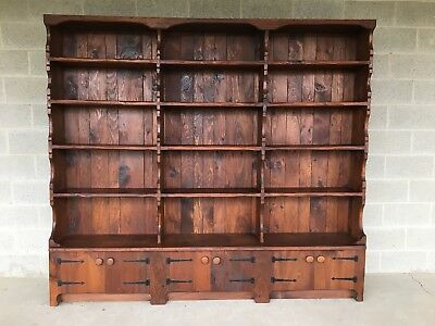 """Hunt Country Furniture Rough Cut One Piece 87"""" Solid Pine 15 Shelf Bookcase"""
