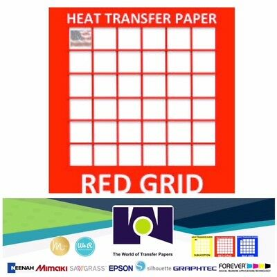 """RED GRID INK JET IRON ON HEAT TRANSFER PAPER LIGHT COLORS 10 Sheets PK 8.5""""x11"""""""
