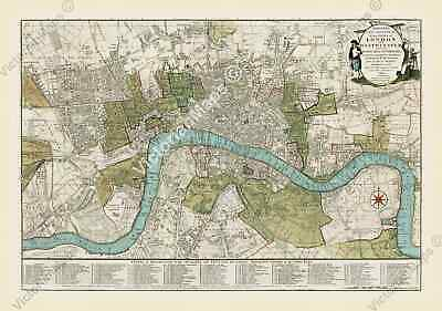 antique guide map of London & Westminster pre Victorian Bowles 1800 print poster