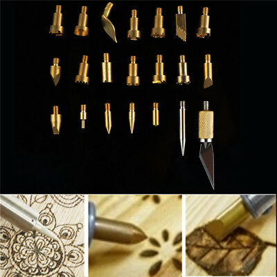 22Pcs Copper Wood Burning Carving Pen Tips Stencil Soldering Pyrography Working
