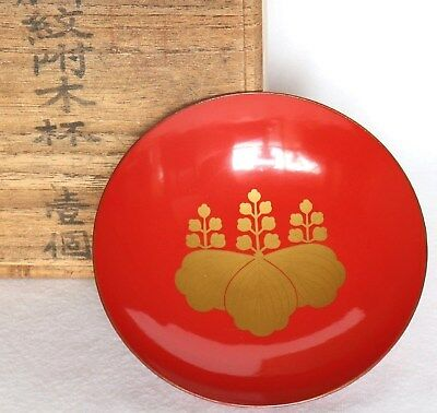 Japanese Vintage Lacquer Ware Sake Cup Red Wood Gold Kiri Crest with Box