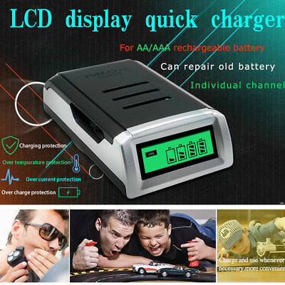 4 Bay LCD Rapid Quick Battery Charger For AA AAA NiMH NiCD Rechargeable Battery