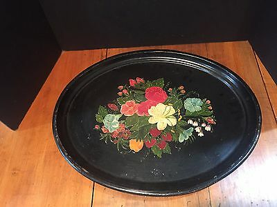 Antique Vintage Hand Painted Oval Metal Tole Tray