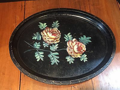 Antique Vintage Hand Painted Oval Tole Tray
