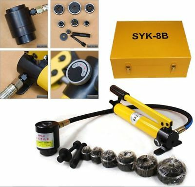 Pro 6 Dies 10 Ton Hydraulic Knockout Punch Driver Kit Hand Pump Hole Tool