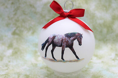 rH083 Hand-made Christmas Ornament HORSE - Appaloosa Appy ray roan loping