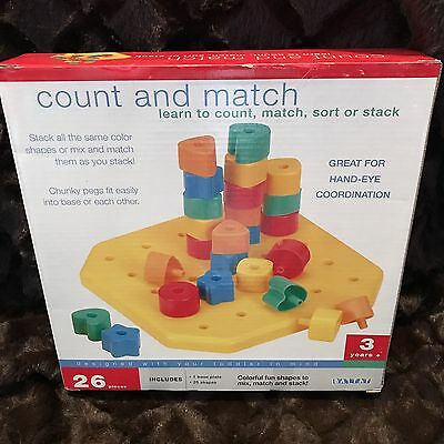 Battat Count and Match Toy, Colorful, Developmental, Stack 26 Pieces Toddler NEW