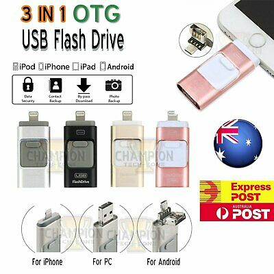 3 in 1 Flash Drive For iPhone iPad Android USB Storage Memory Stick OTG  Disk AU