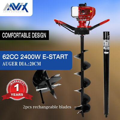 AAVIX 62cc Petrol Post Hole Digger 100cm Depth Earth Auger Drill Fence Borer