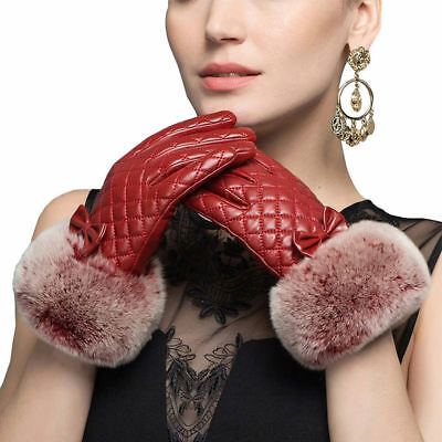 Women's Driving Sheepskin Leather Gloves For Lady's Gloves With Fur Winter Warm
