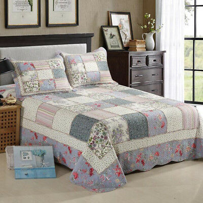 Cotton Floral Quilted Coverlet/BedSpread King/Queen Size Bed Pachwork Pillowcase