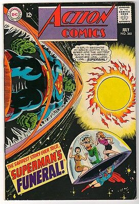 DC  Action Comics SUPERMAN  VFN- 365 Supergirl FUNERAL 1968