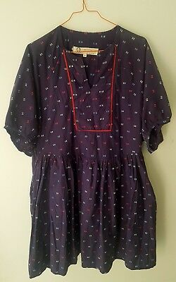 Blue/purple Smock Tunic Top Size 14/16 With Pockets Lagenlook Naftul (10)