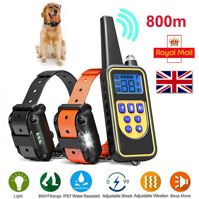 Pet Dog Training Collar Rechargeable Electric Shock Waterproof LCD Display 800m