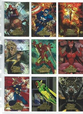 9 Mixed Marvel Masterpieces 2 Marvel Heroines & Avengers Gold Foil Stamped Cards