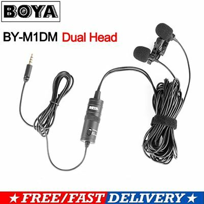 BOYA BY-M1DM Dual Head Lavalier Condenser Microphone Audio Recording for Phone G