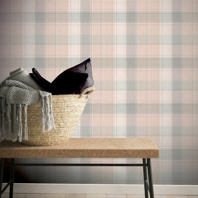 Arthouse Country Tartan Highland Check Plaid Pink Grey Stripe Wallpaper 901900