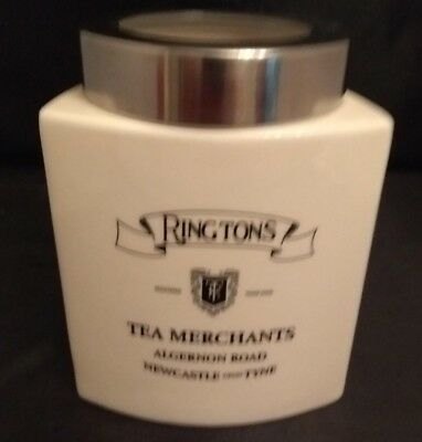 "RINGTONS TEA MERCHANTS Pottery Ceramic 6"" Storage Jar Carry Handle Screw On Lid"
