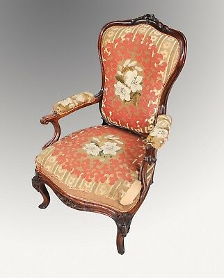 A Beautiful French Carved Rosewood Armchair