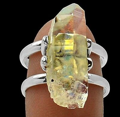 Solid 925 Sterling Silver Rare Angel Aura Quartz Crystal Gemstone Ring (Sz 7/n)