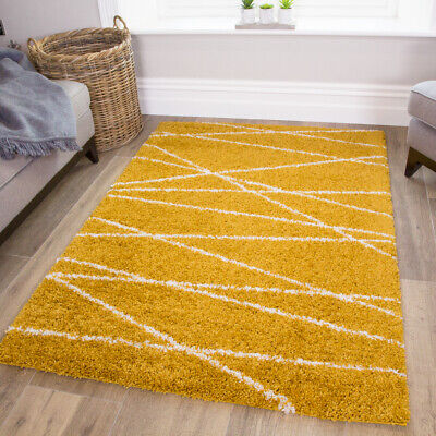 Ochre Yellow Thick Mustard Shaggy Rugs Non Shed Cosy Geometric Living Room Rug