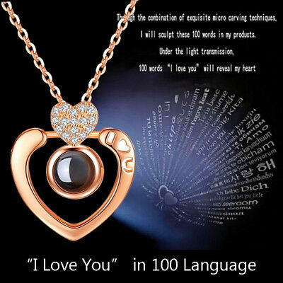 Silver Gold 100 Languages Light I Love You Projection Pendant Necklace Heart