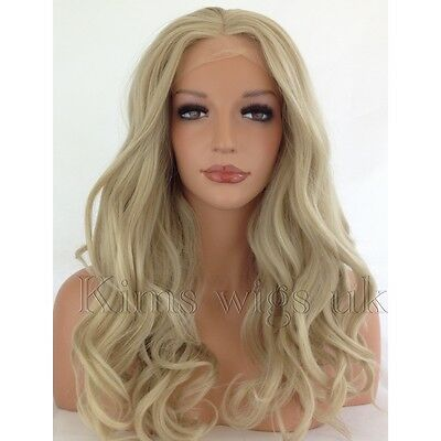Light Blonde  Long Womens Ladies Lace Front Wig Heat Resistant Kw03