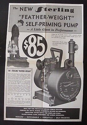 Antique 1910s Sterling Featherweight Pump Poster Advertisement - Bi-Fold Ad