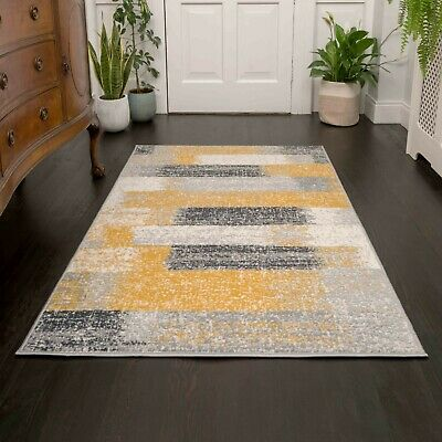 Ochre Yellow Grey Striped Area Rugs Nordic Modern Textured Living Room Rug Cheap