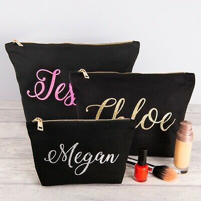 * Personalised Make Up Bag With Your Name In Glitter Birthday Mothers Day Gift