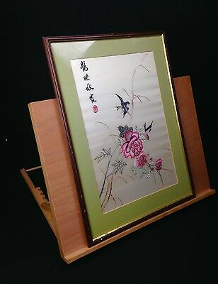 Vintage Chinese Silk Embroidery Signed Beautiful Colours Bird Design Framed