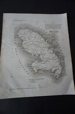 Carte atlas départemental A Lorrain  Martinique 1840