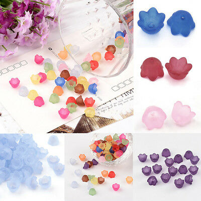 6 Color Choice 100pcst Chunky Cyan Transparent Frosted Flower Acrylic Beads 10mm