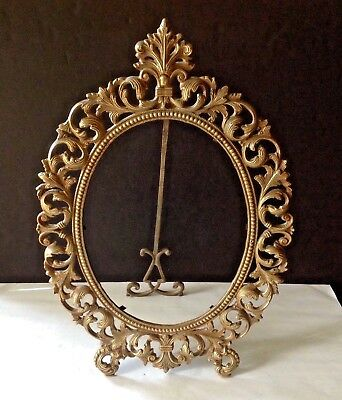 VTG Victorian Ornate Cuban Solid Bronze Easel Table Top Picture 19'' Tall Frame