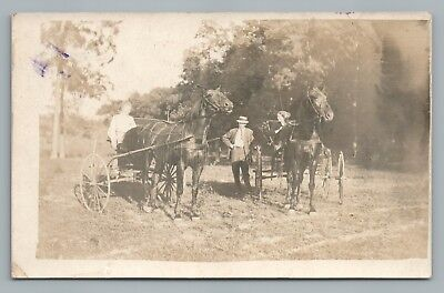 Women in Horse Carts RPPC Antique Riding Real Photo Postcard 1910s
