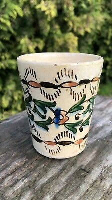 Vintage Antique Turkish Ceramic Pottery Cup With Fish Design *