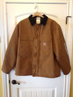 Mens 2Xl Reg Carhartt Brown Quilted Lined Cotton Duck Coat Jacket Nwt
