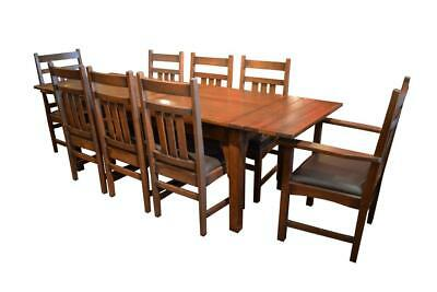 Mission Oak Dining Table With 2 Leaves and 8 Dining Chairs